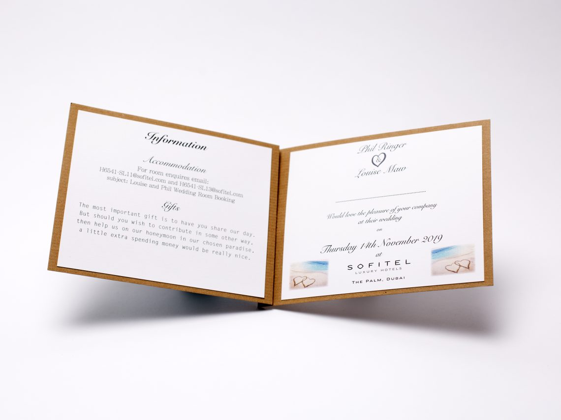 Wedding invite inner page printed